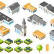 Stok Vektör: Suburban community isometric city kit
