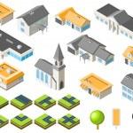 banliyö topluluk izometrik şehir seti — Stok Vektör