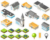 Suburban community isometric city kit — Stock Vector