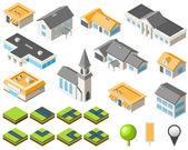 Suburban community isometric city kit — Stock Vector