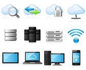 Icônes de l'informatiques en nuage — Vecteur