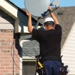 Satellite dish worker — Foto Stock