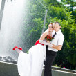 Stock Photo: Bride and groom standing