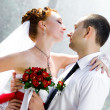 Bride and groom standing — Stock Photo #8615080