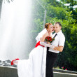 Bride and groom standing — Stock Photo #8615083