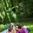 Bride and groom in the park — Stock Photo #8871551