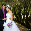 Bride and groom in the park — Stock Photo #8871569
