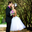 Bride and groom in the park — Stock Photo #8871575