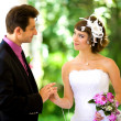 Bride and groom in the park — Stock Photo #8871591