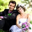 Bride and groom in the park — Stock Photo #8871614