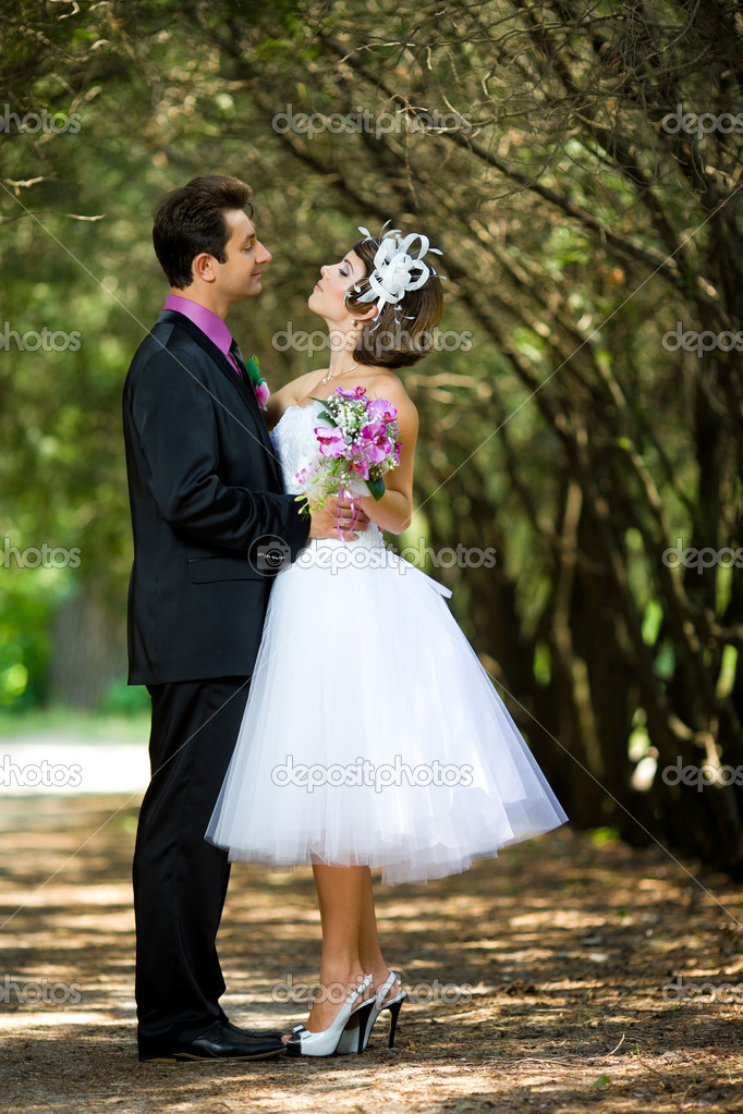 Bride and groom  in the park — Stock Photo #8871579