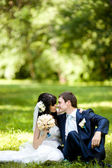 Young beautiful pair of newlyweds — Stock Photo