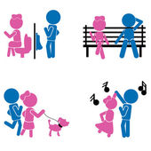 Girl boy sticks - couple or love concept — Stock Vector