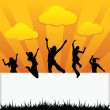 Silhouettes kids jumping - Stock Vector