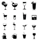 Drinks glass silhouettes — Stock Vector