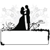 Wedding couple silhouettes — Stock Vector