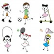 Cartoon stick children active sports — Stock Vector