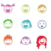 Children face icons — Stock Vector