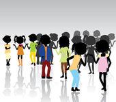 Children silhouettes gathering — Stock Vector