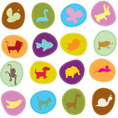 Cute animals icons — Stock Vector