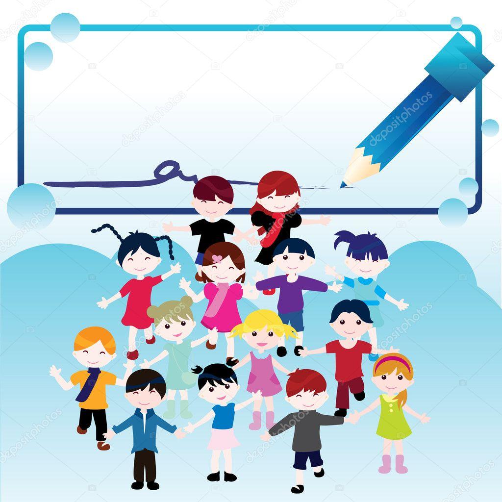 快乐儿童背景 — 图库矢量图像08