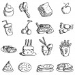 Royalty-Free Stock Vector Image: Cartoon doodles food icons