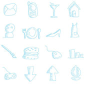 Cartoon doodles web iconen — Stockvector