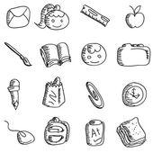 Karikatür okulu simgeler doodles — Stok Vektör