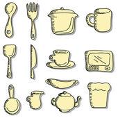 Cartone animato doodles icone di roba alimentare e cucina — Vettoriale Stock