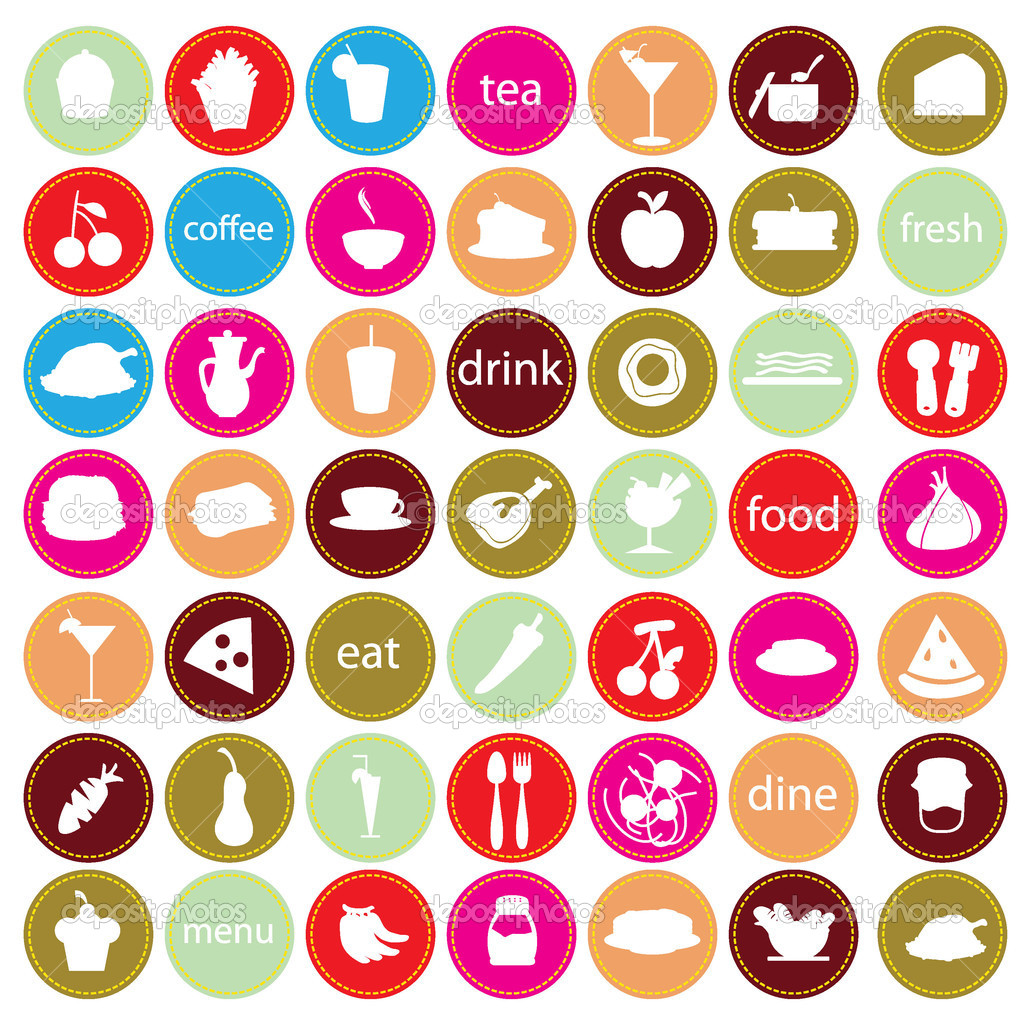 Food and drinks icons stock illustration