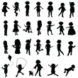 Cartoon silhouettes children — Stock Vector