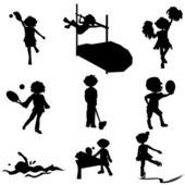 漫画シルエット スポーツ子供 — ストックベクタ
