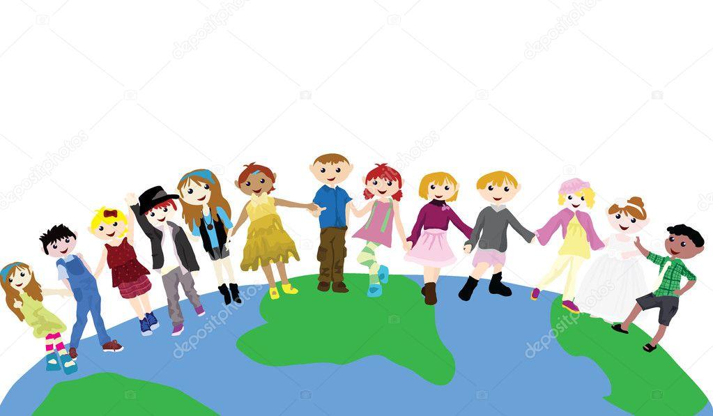 Cartoon children on globe stock illustration
