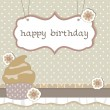 Happy birthday cup cake card — Stock vektor