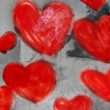 Royalty-Free Stock Photo: Hearts painted on the wall