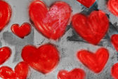 Hearts painted on the wall — Stock Photo