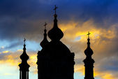 Silhouette of St. Andrew Cathedral in Kiev — Stock Photo