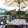 Stock Photo: Floating restaurants on river Kwai in Thailand
