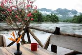 Floating restaurants on the river Kwai in Thailand — Stock Photo