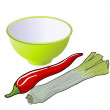 Stock Photo: Leek and red pepper, vector illustration.