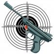 Stock Photo: Firearm, gun against target. vector