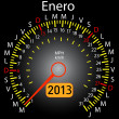 2013 year calendar speedometer car in Spanish. January — Stock Photo #10228575