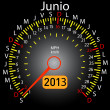 2013 year calendar speedometer car in Spanish. June — Stock Photo
