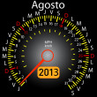 2013 year calendar speedometer car in Spanish. August — Stock Photo #10228601