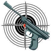 Firearm, the gun against the target. vector — Stock Photo