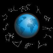 Constellations around the globe vector illustration — Stock Photo