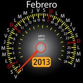 2013 year calendar speedometer car in Spanish. February — Stock Photo