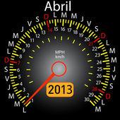 2013 year calendar speedometer car in Spanish. April — Stock Photo
