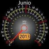 2013 year calendar speedometer car in Spanish. June — Stock Photo
