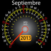 2013 year calendar speedometer car in Spanish. September — Stock Photo